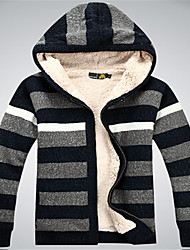 Men's Striped Cardigan,Cotton Long Sleeve