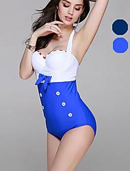 Damen Bikini / Einteiler - Einheitliche Farbe / Push-Up Nylon / Elasthan Halfter