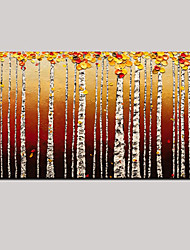 Hand-painted Birch Oil Painting Landscape Wall Art with Stretched Framed