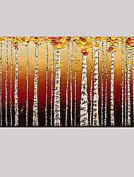 arte da parede da paisagem pintura a óleo de bétula pintada à mão com esticada emoldurado