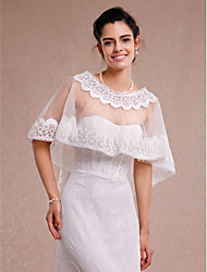 Women's Wrap Coats/Jackets Sleeveless Lace / Tulle Ivory Wedding / Party/Evening / Casual Scoop Lace Pullover