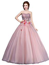 Ball Gown Princess Strapless Floor Length Tulle Formal Evening Dress with Flower(s) by MMHY