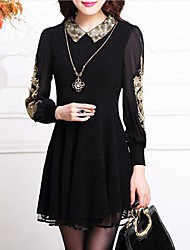 Women's Embroidery Casual/Daily / Plus Size Simple Sheath Dress,Jacquard Shirt Collar Above Knee Long Sleeve Black Polyester Spring