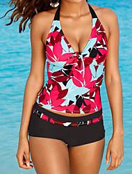 Women's Bandeau Bikini,Floral Polyester Red