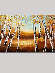 Hand-painted European Style Birch Forest Oil Painting Landscape Wall Art with Stretched Framed