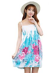 2016 Summer New Women's Bohemian Beach / Floral Chiffon Dress