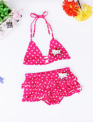 Girl's  Summer Bow The Head Band  Dot  Two Parts Bathing Suit