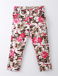 Girl's Print Pants,Cotton Summer Red