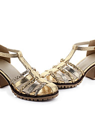 Women's Shoes Leatherette Summer Comfort Office & Career / Dress / Casual Chunky Heel Buckle / Braided Strap White / Silver / Gold