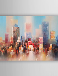 Hand Painted Oil Painting Landscape Abstract Colourful City with Stretched Frame 7 Wall Arts®