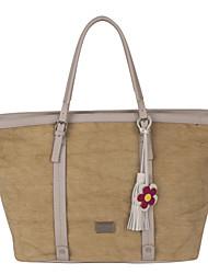 DAVIDJONES/Women PU / Canvas Shopper Shoulder Bag / Tote / Cross Body Bag-Camel