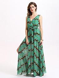 Women's Sexy / Vintage Striped Lace Up Split Irregularity Sheath Dress,V Neck Maxi