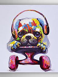 handgemaltes Ölgemälde Tier spielen Scheibe Hund mit gestreckten Rahmen 7 Wand ARTS®