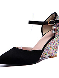 Women's Shoes  Wedge Heel Wedges / Heels / Pointed Toe Sandals Party & Evening / Dress / Casual Black / Pink / Purple
