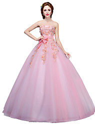 Ball Gown Princess Strapless Floor Length Tulle Formal Evening Dress with Appliques Crystal Detailing Flower(s) by MMHY