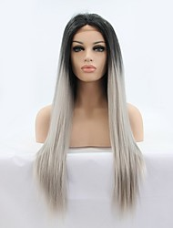 Synthetic Front Lace Ombre Color Two Tone Color T1B-Gray Wigs