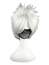 Cosplay Wigs Naruto Hatake Kakashi Silver Short Anime Cosplay Wigs 35 CM Heat Resistant Fiber Male / Female