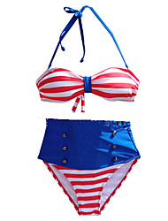 Venus queen Women's Halter Bikini,Retro Nylon / Spandex Red