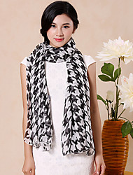 Houndstooth Chiffon Stitching Color Long Scarf Shawl