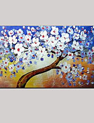 Hand-painted Abstract Blue Background white Life Trees Flower Oil Painting with Stretched Frame