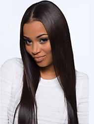 bela 20 polegadas longo de seda reta cor natural brasileiro do cabelo virgem cheia do laço peruca