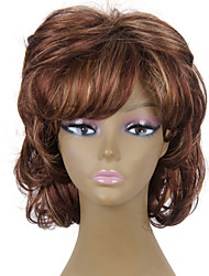 Heat Resistant Cheap Fake Hair Wig Short Brown Curly Synthetic Wigs for Women