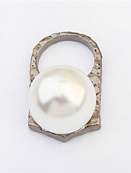 Hot Sale Simulated Diamond Pearl Ring Rhodium Plated Open Cocktail Party Finger Rings Female Fashion Jewelry