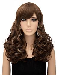 sem tampa multi-color comprimento longo de alta qualidade natural da onda peruca sintética