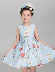 Vestido Chica de-Verano-Algodón / Lino-Azul / Blanco
