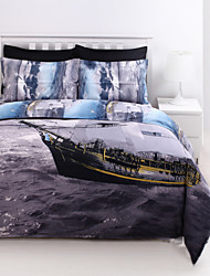 Shuian® Duvet Cover Set, 4 Piece Suit Comfort Simple Modern Ventilation Printed  3D Sailing Pattern Full