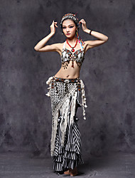 Belly Dance Outfits Women's Performance  Beading / Coins / Flower(s) / Ruffles / Sash / Tassel(s) 3 Pieces White