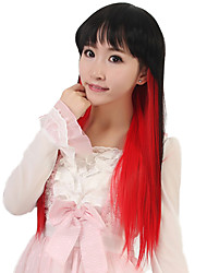 24 inch Women Long Straight Synthetic Hair Wig Cosplay Black Ombre Red Capless with Free Hair Net