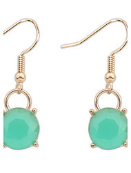 Simple Circular Green Summer Fashion Crystal Earrings