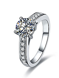 Quality C Brand 4Prongs 1CT SONA Diamond Ring for Women Sterling 925 Silver in Platinum Plated Luxury Micro Paved