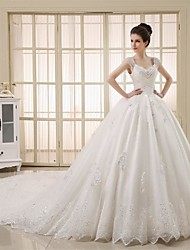 Princess Wedding Dress Vintage Inspired Chapel Train Straps Tulle with Beading Crystal Lace