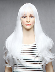 Capless White Color Long Length High Quality Natural Straight Synthetic Wigs