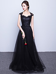 Formal Evening Dress A-line Sweetheart Sweep/Brush Train Lace / Tulle