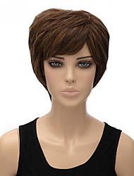 moda cor natural castanho curto peruca sintética reta
