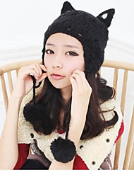 Orecchiette Devil Angle Pigtail Ball Autumn And  Winter Warm Knit Wool Cap