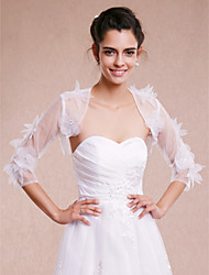 Wedding  Wraps Shrugs 3/4-Length Sleeve Organza White Wedding / Party/Evening