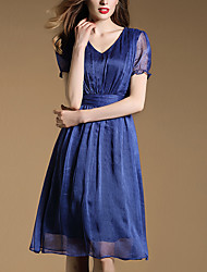 Women's Street chic Solid Chiffon Dress,Round Neck Knee-length