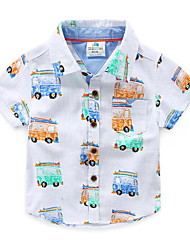 Summer Tracksuit Casual Children Boys Cotton Cartoon Car Printed White Short Sleeve Polo T-Shirts