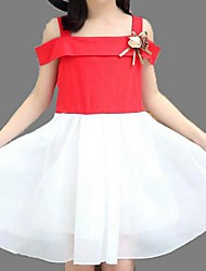 Girl's Black / Pink / Red Dress,Solid Polyester Summer