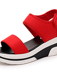 Women's Shoes PU Wedge Heel Wedges / Open Toe Sandals Outdoor / Dress / Casual Black / Red