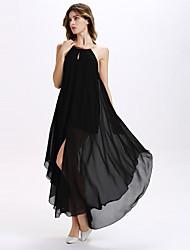 Women's Neck Hanging Backless  Irregular Front Open Maxi Dresses