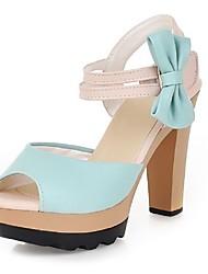 Women's Shoes Chunky Heel Comfort / Round Toe Sandals Wedding / Outdoor / Office & Career / Dress Blue / Pink / Purple