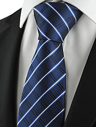 KissTies Men's Tie Dark Blue Striped Check Necktie Wedding/Business/Party/Work/Casual With Gift Box