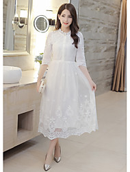 Women's Casual/Daily Simple Loose Dress,Solid Round Neck Midi ¾ Sleeve White Cotton / Nylon Summer Mid Rise