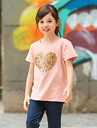 Girl's Pink Tee,Print Cotton Summer
