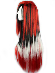 The New Wig Anime Characters Red Color Multicolor Mixed Long Straight Hair Wigs